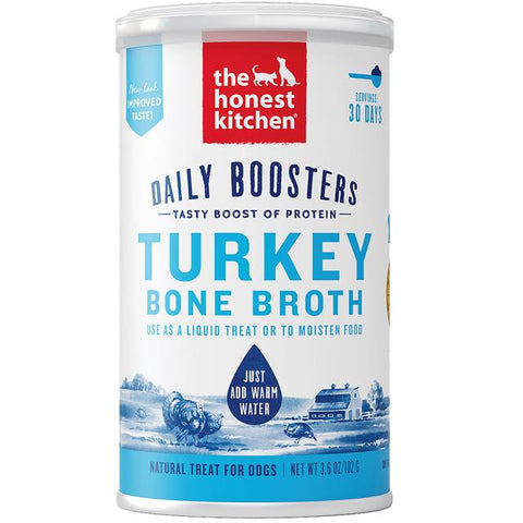 15% OFF [NEW]: The Honest Kitchen® Daily Boosters Instant Turkey Bone Broth with Turmeric Dog & Cat Supplement