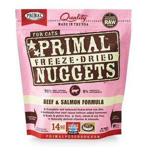 Primal: Freeze Dried Feline Beef & Salmon Nuggets (4 bags)