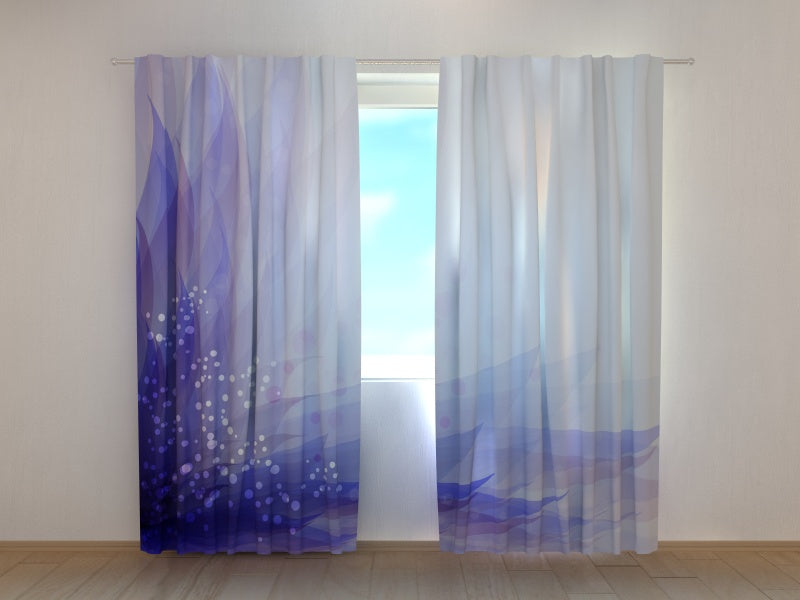 Photo Curtain Abstract Blue Flower