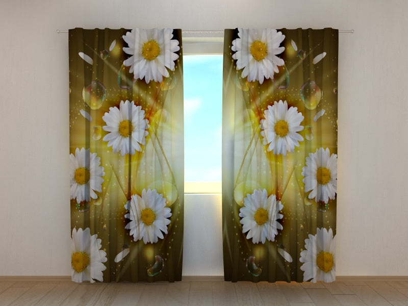 Photo Curtain Abstract Chamomile Flowers