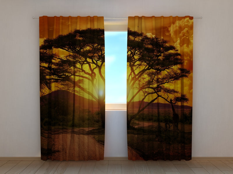 Photo Curtain Africa Sunset - Wellmira