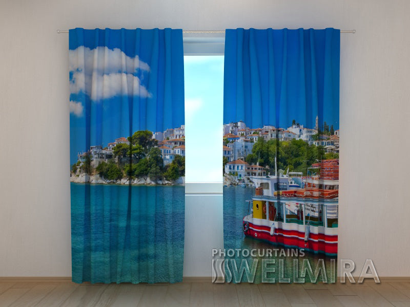 Photo Curtain At the Greek Coast