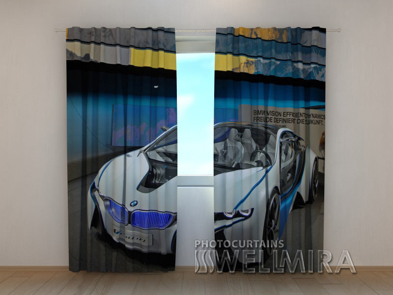 3D Curtain White Supercar - Wellmira