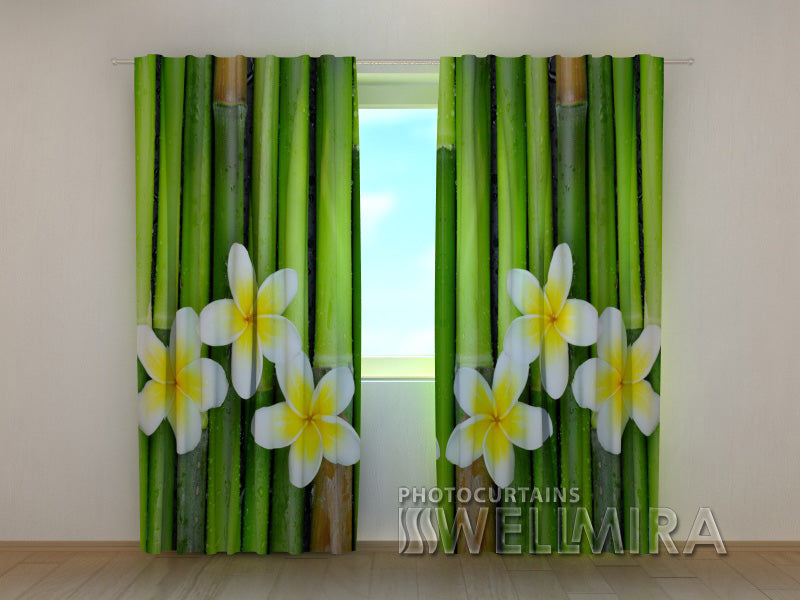Photo Curtain Bamboo and Plumeria - Wellmira