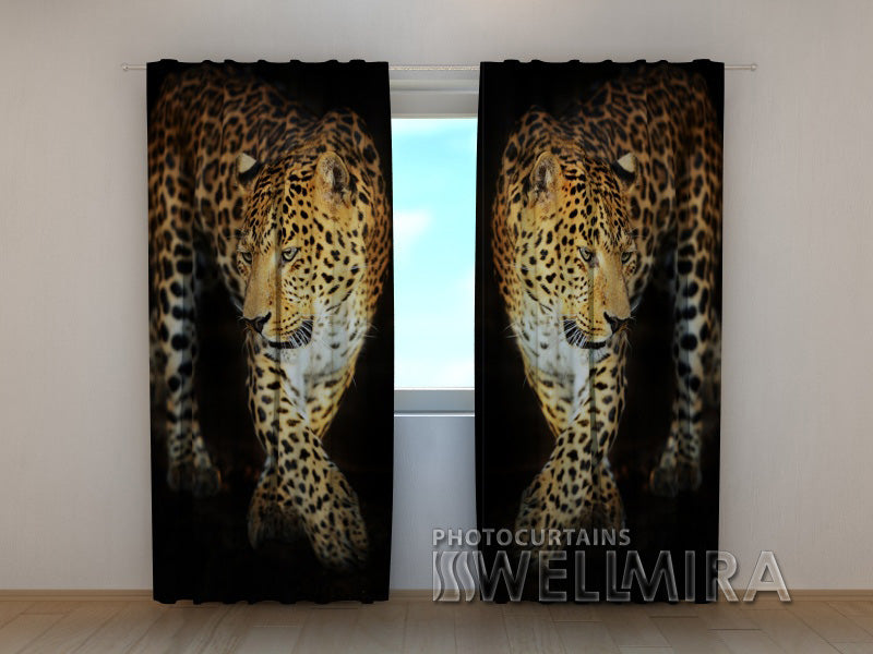 3D Curtain Beautiful Jaguar - Wellmira