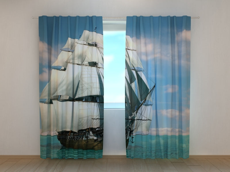Photo Curtain Beautiful Schooner - Wellmira
