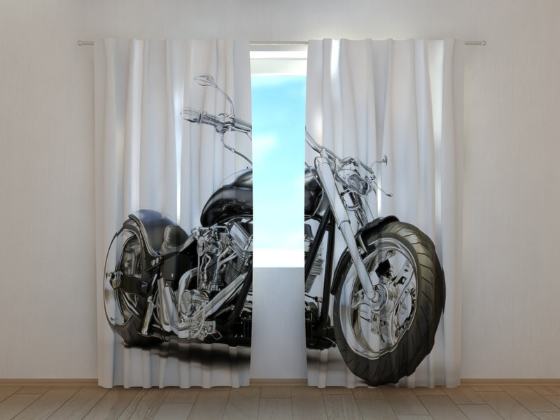 Photo Curtain Black Motorbike - Wellmira