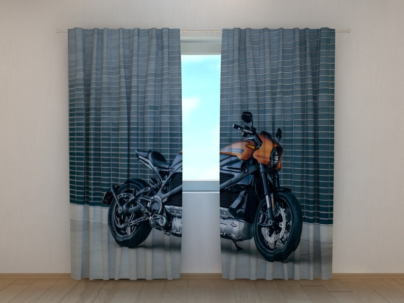 Photo Curtain Black Motorbike Harley Davidson