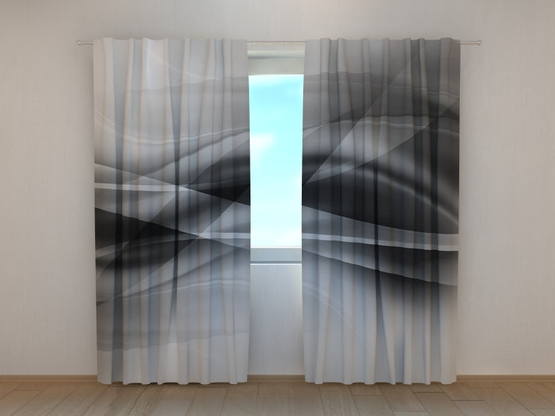 Photo Curtain Black and White Abstractions Waves