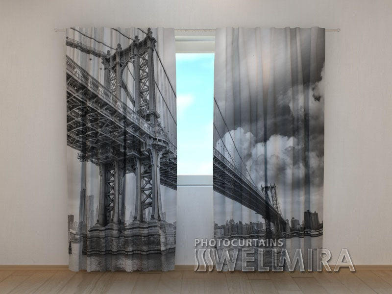 Photo Curtain Black and White Bridge - Wellmira
