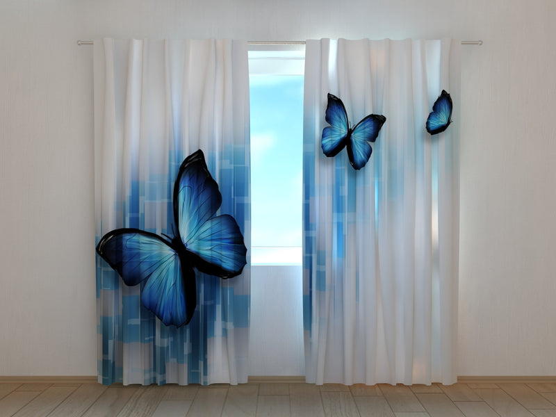 Photo Curtain Blue Butterflies - Wellmira