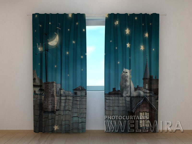 3D Curtain Cat on the Roof - Wellmira
