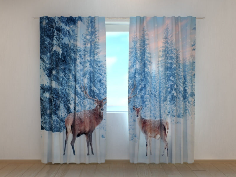 Photo Curtain Christmas Noble Deers