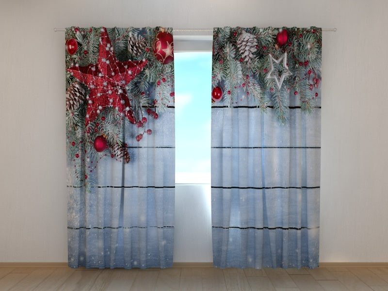 Photo Curtain Christmas Red Star