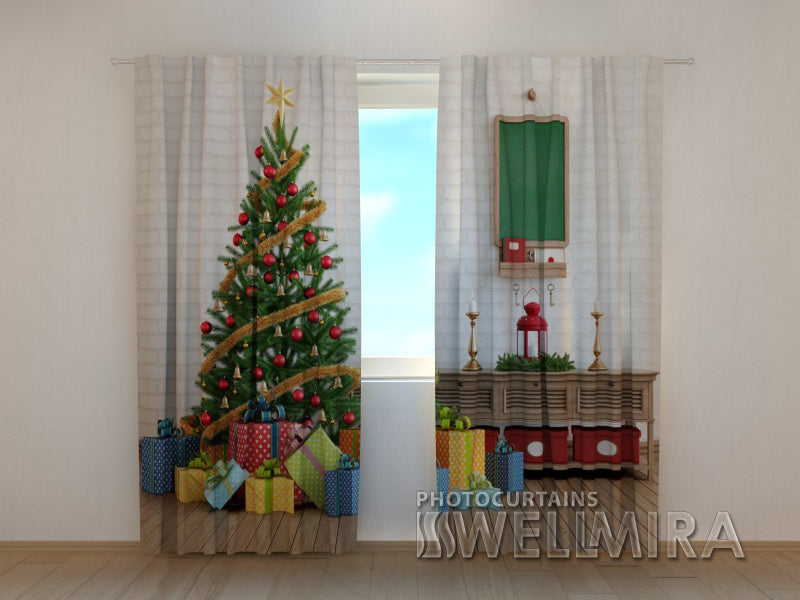 Photo Curtain Christmas Tree with Gifts - Wellmira