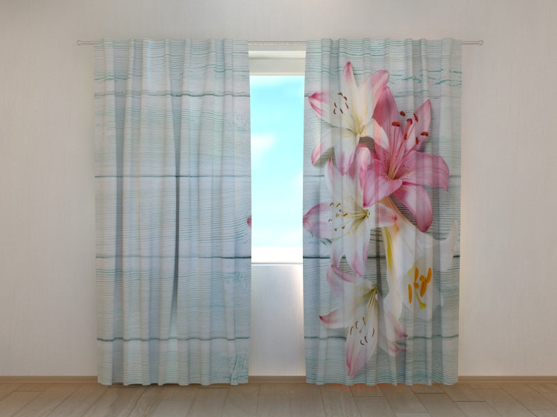 Photo Curtain Colorful Lilies on Wood