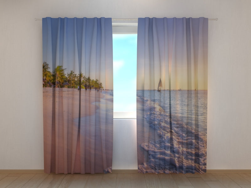 Photo Curtain Colorful Sunset at the Tropical Beach