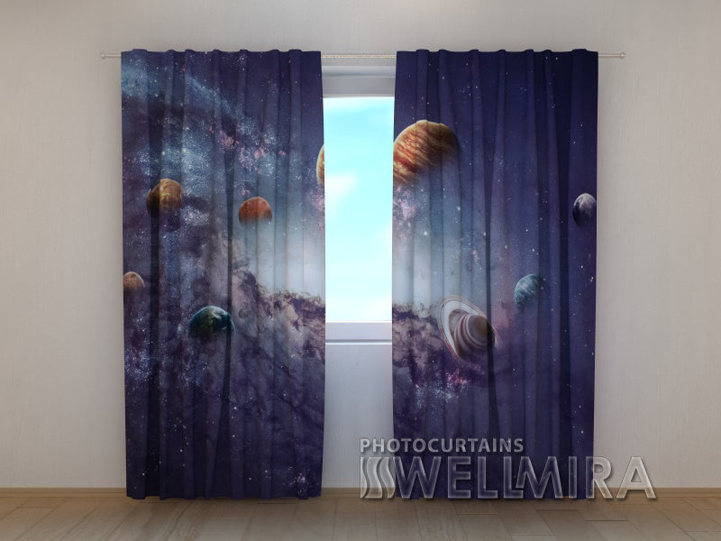 Photo Curtain Creating Planets - Wellmira