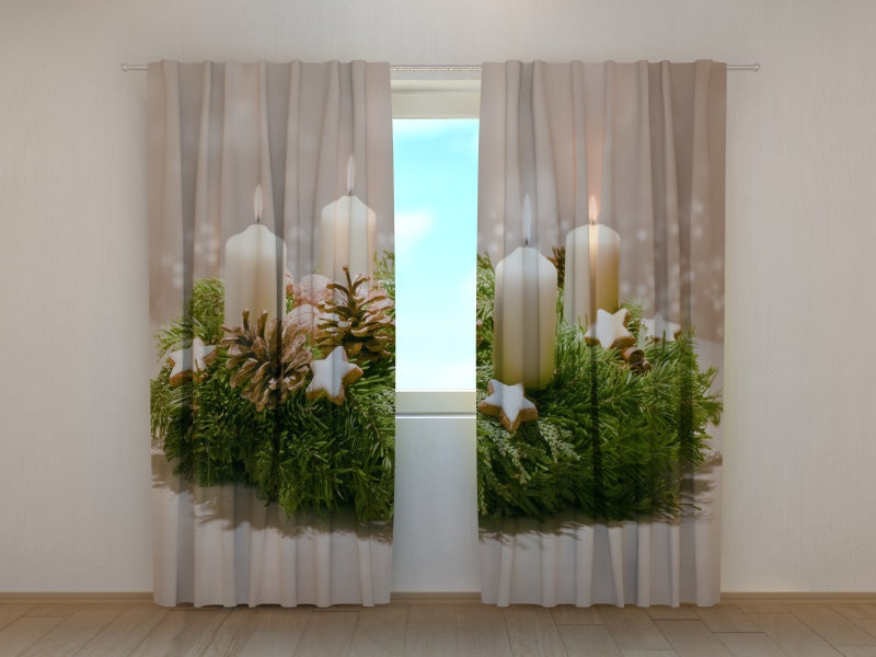Photo Curtain Decorated Advent Wreath