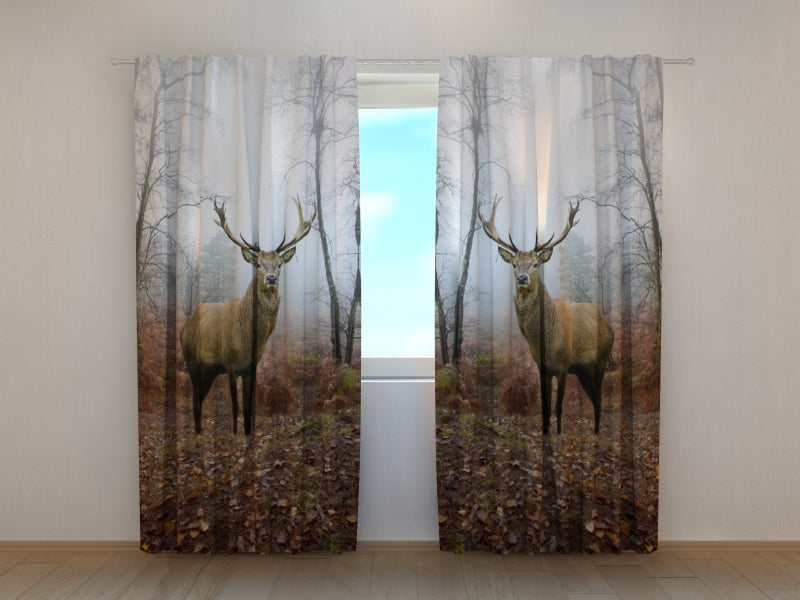 Photo Curtain Deer in the Forest - Wellmira