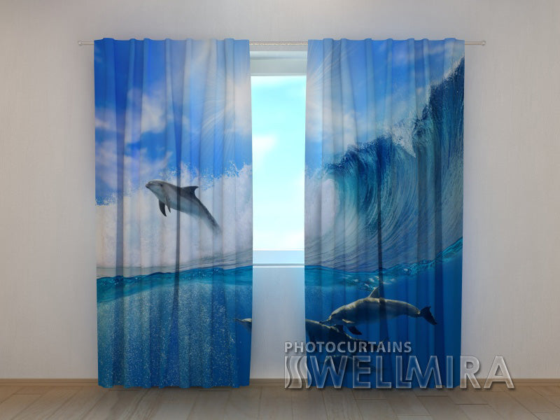 3D Curtain Dolphins - Wellmira