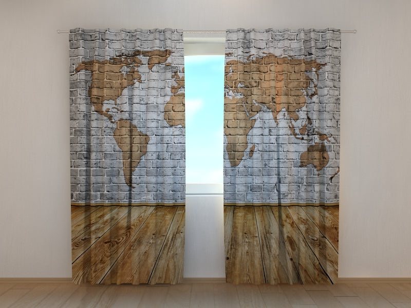 Photo Curtain Drawn Map on the Wall