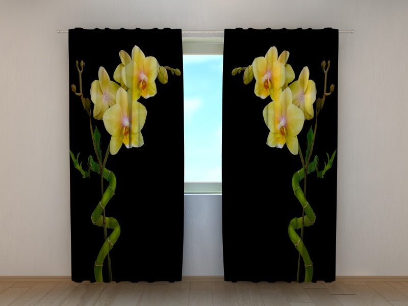 Photocurtain Duet of Bamboo and Orchid - Wellmira