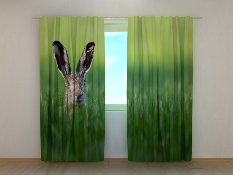 Photo Curtain Easter Rabbit in Green Grass
