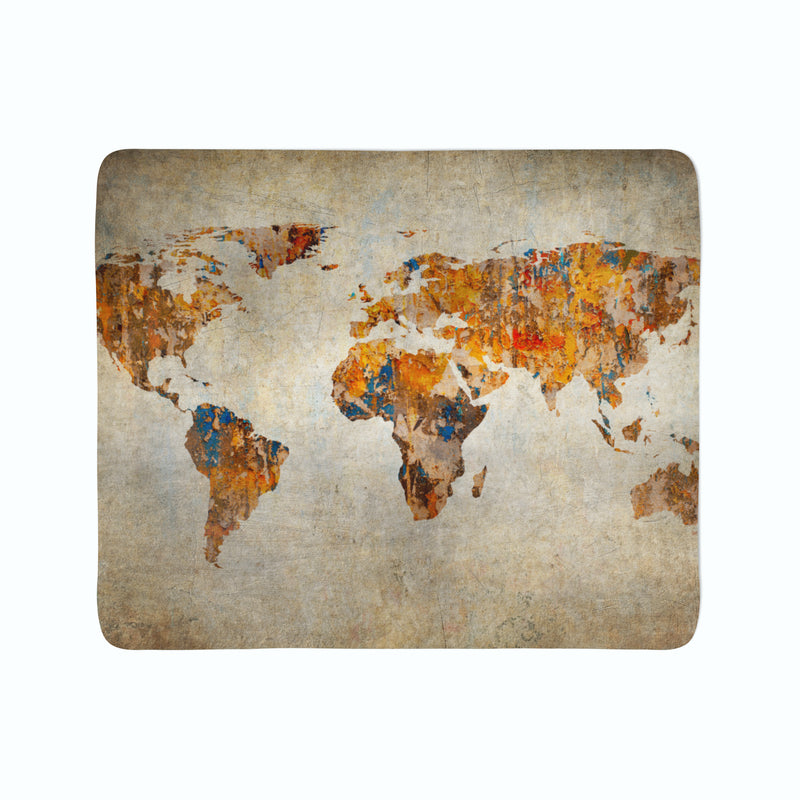 Fleece Blanket Grunge Map of the World