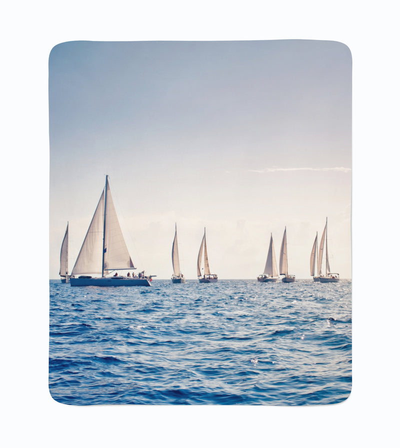 Fleece Blanket Sea and Sailboats