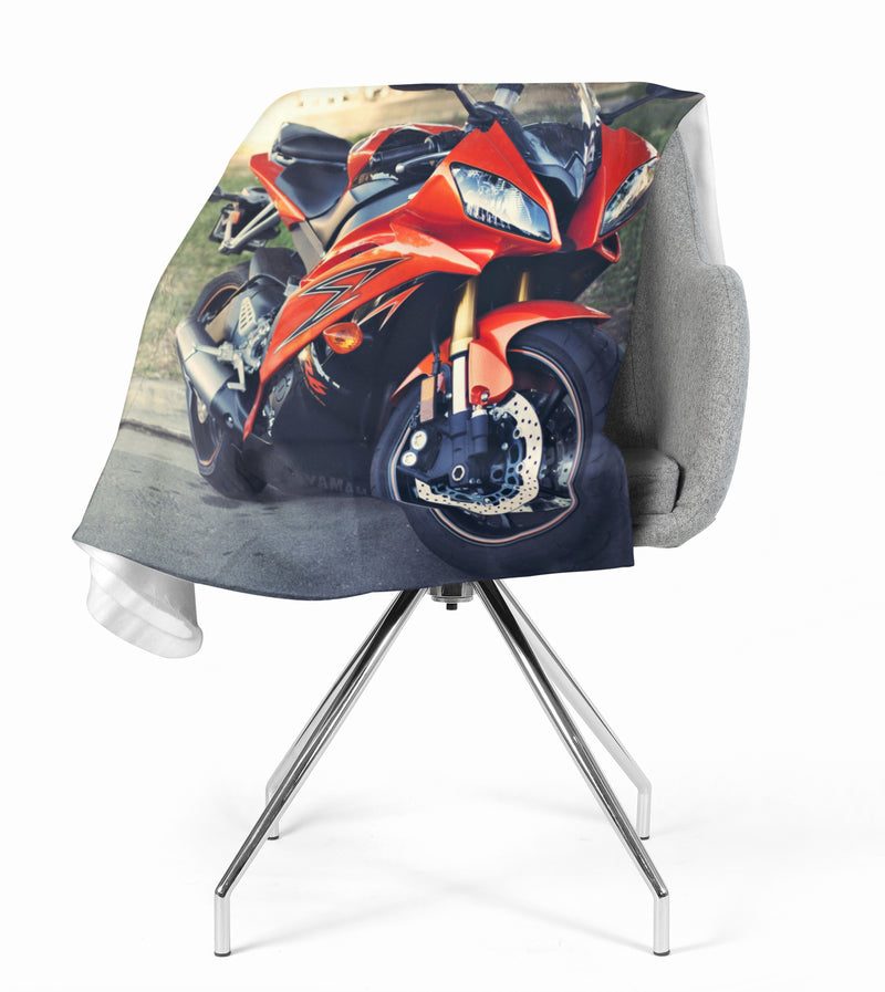 Fleece Blanket Red Motorcycle