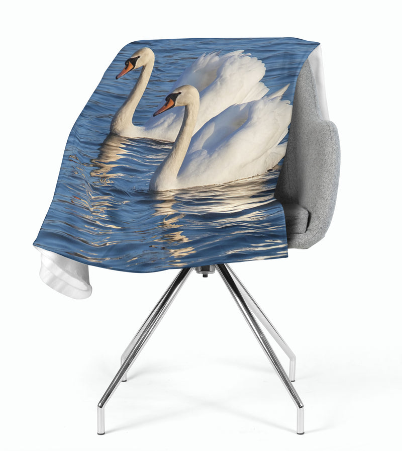 Fleece Blanket White Swans