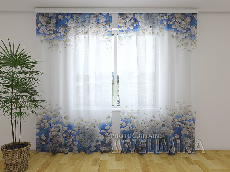 Photo Net Curtain Blue Hydrangeas - Wellmira
