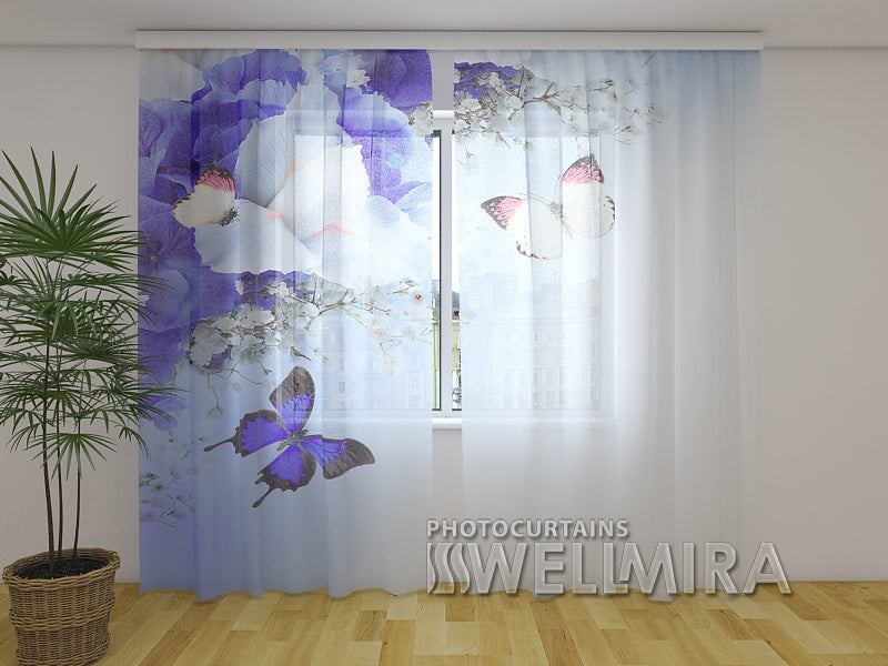 Photo Net Curtain Blue Irises - Wellmira