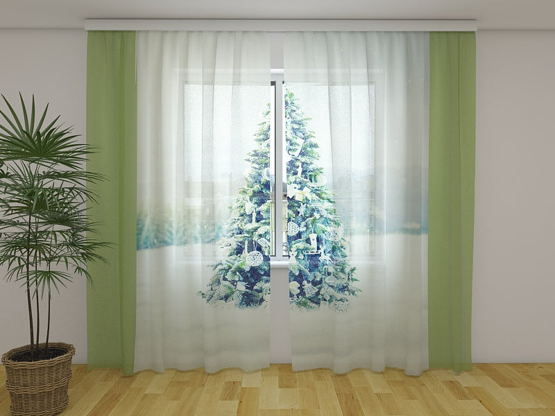 Photocurtain Christmas Tree with White Decorations - Wellmira