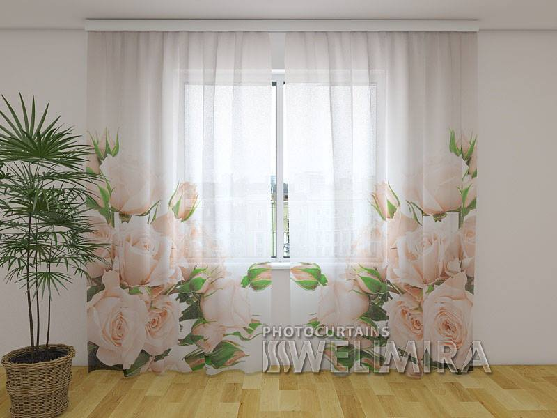 Photo Net Curtain Cream Roses - Wellmira
