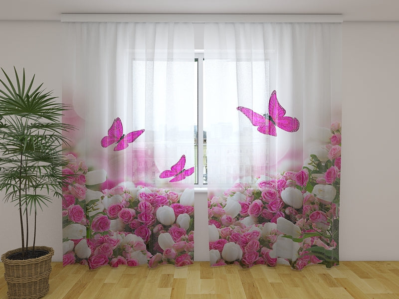 3D Curtain Crimson Butterflies and Flowers - Wellmira