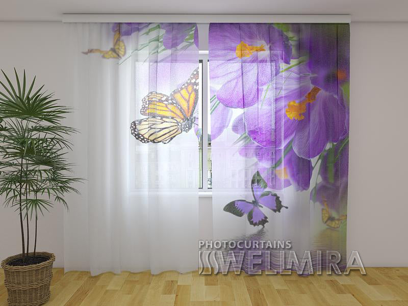 Photo Curtain Crocuses and Butterflies - Wellmira