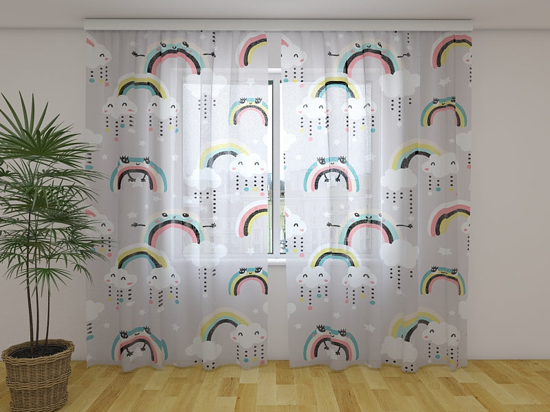 Photo Curtain Cute Rainbow and Clouds with Eyes - Wellmira