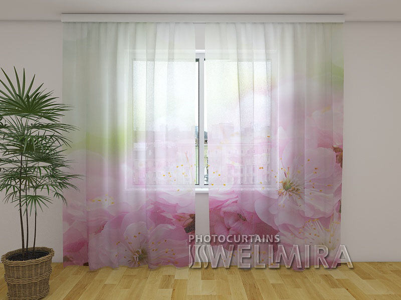 Photo Net Curtain Flowers of sweet cherry - Wellmira