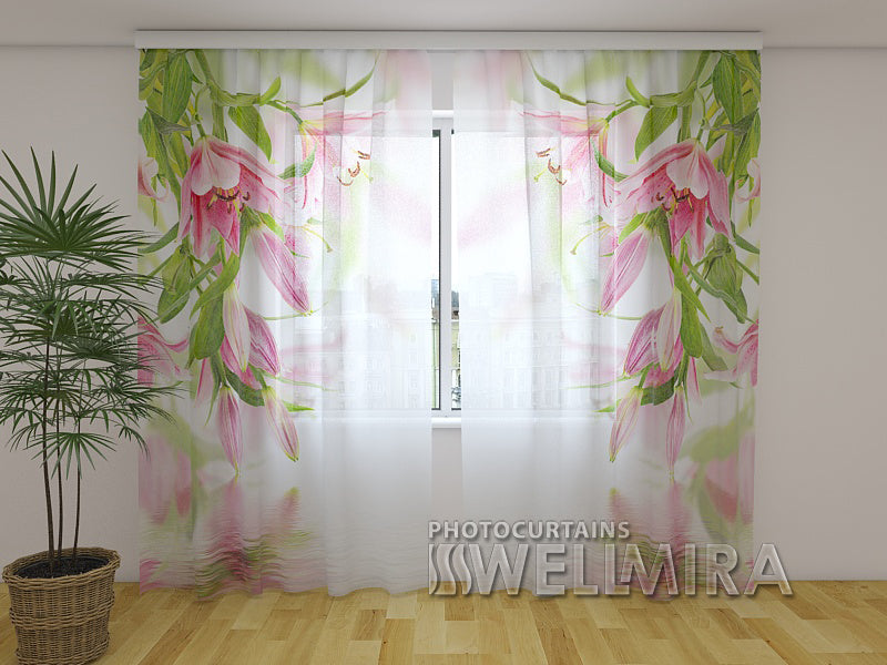 Photo Net Curtain Pink lilies - Wellmira
