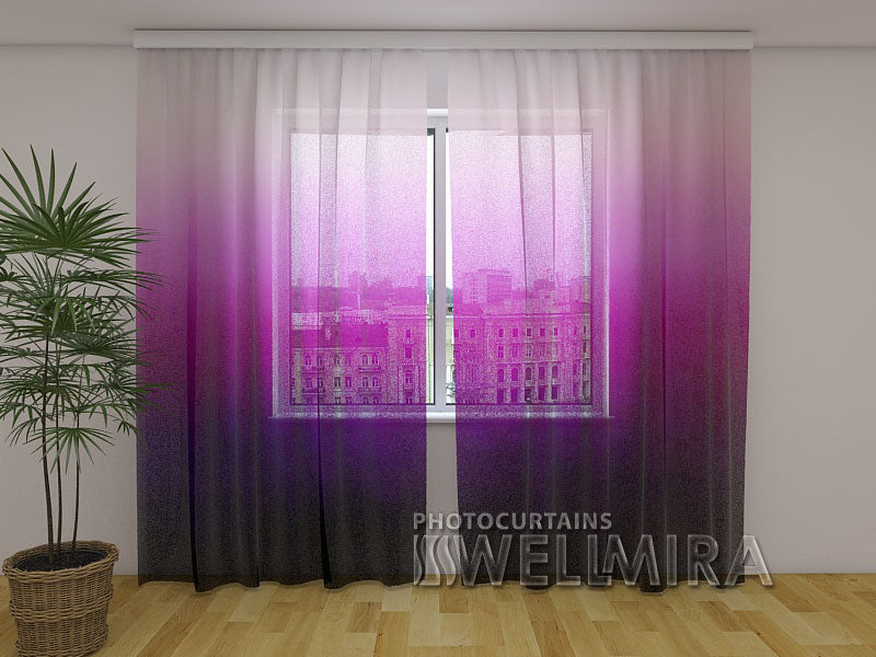 Photo Net Curtain Purple Watercolor Ombre - Wellmira