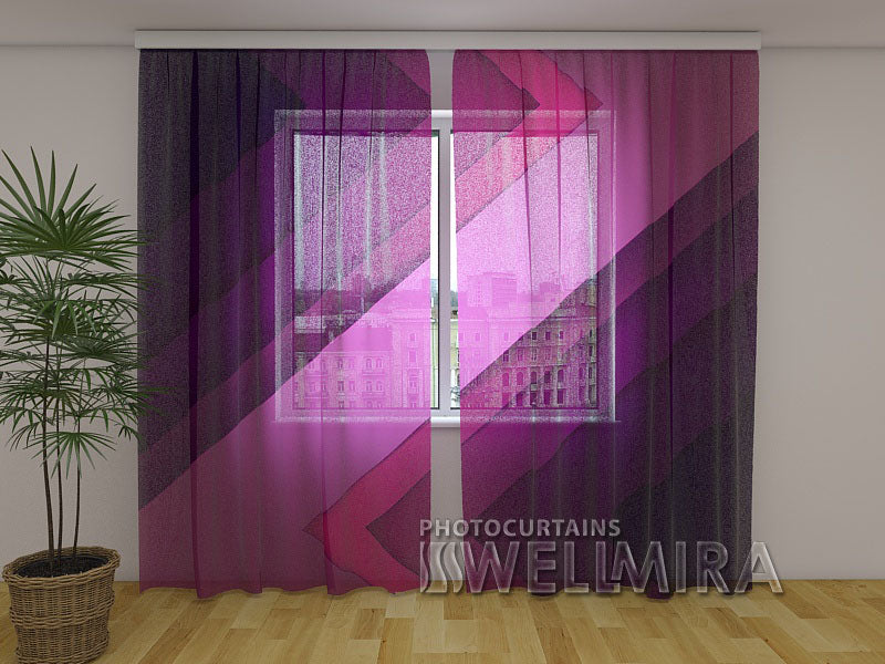 Photo Net Curtain Purple lines - Wellmira