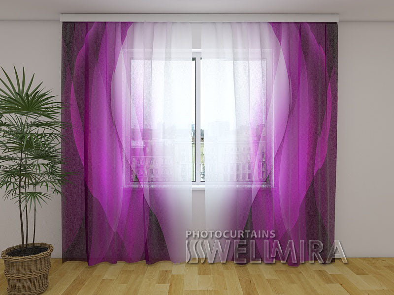 Photo Net Curtain Purple waves - Wellmira