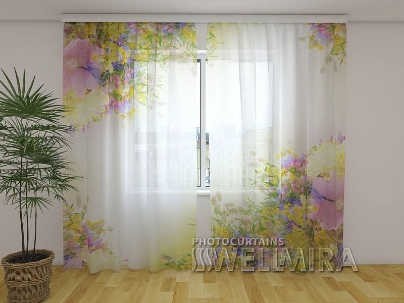Photo Net Curtain Summer field flowers - Wellmira