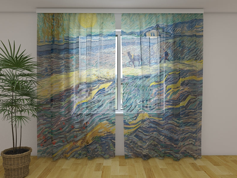 Photocurtain Enclosed Field with Ploughman Vincent van Gogh - Wellmira