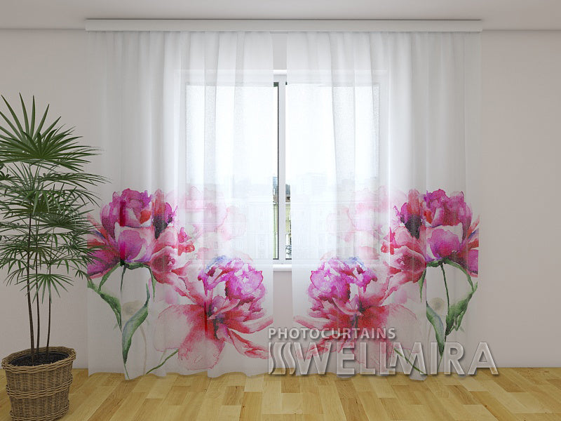 Photo Net Curtain Watercolor peonies - Wellmira