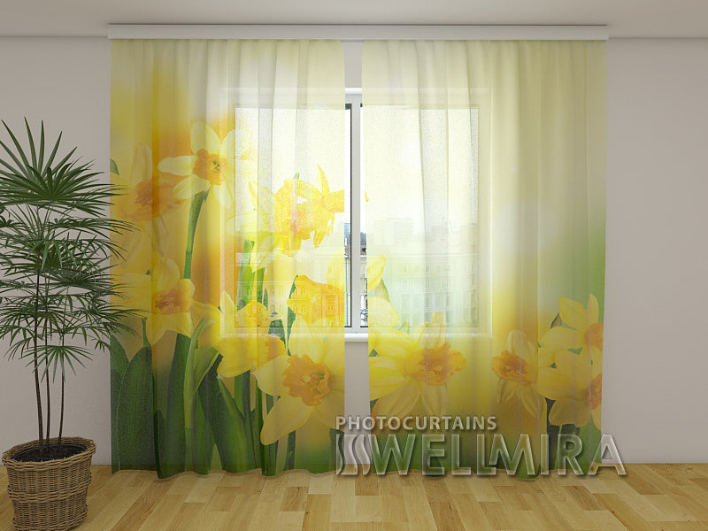 Photo Net Curtain Yellow daffodils 2 - Wellmira