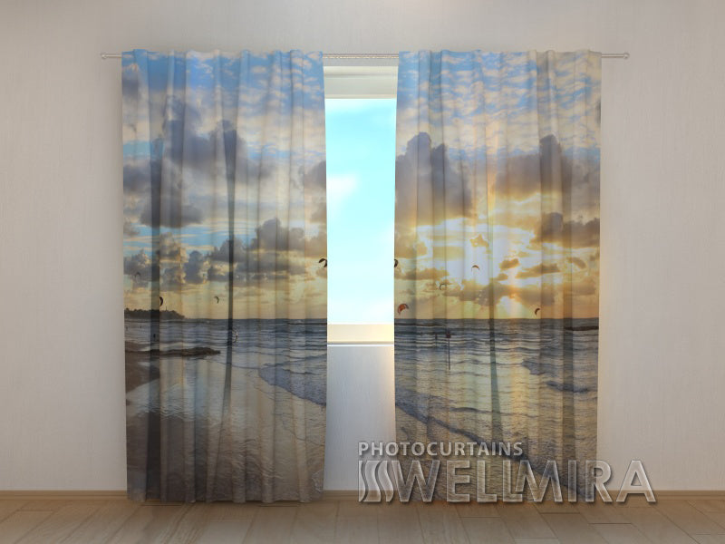 Photo Curtain Faraway Ocean - Wellmira