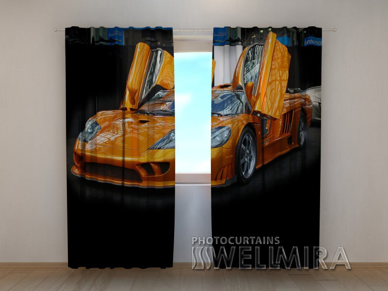 3D Curtain Orange Ferrari - Wellmira